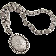 Victorian Sterling Silver Locket Book Chain Monogrammed