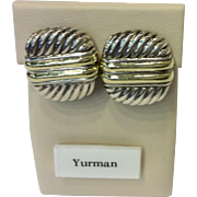 David Yurman Cable Earrings 14K Gold and Sterling Silver