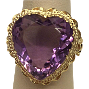 14K Amethyst Heart Ring