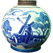 Blue Willow Ceramic Kerosene Lamp Base