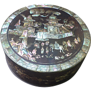 SOLD Circular Box in Lacquer and Mother of Pearl Inlay from Vietnam