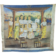 A Gathering of Eleven Burmese Women, Watercolor on Cloth