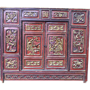 Red Lacquer and Gilt Front Panel From a Vietnamese Altar