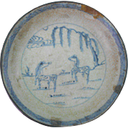 A Provincial Chinese Blue and White Saucer, Horses Theme