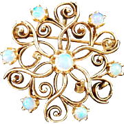 14k Gold Brooch With Stunning Opals