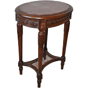 French Walnut Accent Table w/ Marble Top 1890s