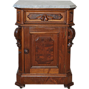 American Walnut Marble Top Accent Table Cabinet c.1870