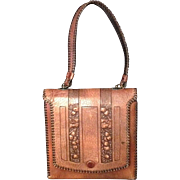SALE VINTAGE HAND TOOLED LEATHER PURSE