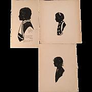 SOLD Set of 3 Nancy Van Court Silhouettes