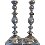 SALE Fraget N Plaque Silver Plated Sabbath Candlesticks 1880's