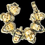 REDUCED Vintage Unsigned Selini  Seven Immortals God of Fortune Bracelet