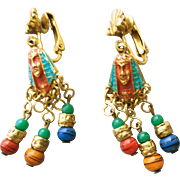 SALE Egyptian Revival Clip Earrings with Enamel and Multicolor Beads