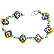 SALE Sterling Silver and Enamel Clown Faces Bracelet