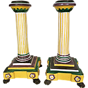REDUCED Majolica Bright Yellow, Green, and Purple Candlesticks