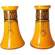 Pair of Czech Bohemian Tango Glass with Enameling Hat Pin Holders/Vases