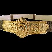 SALE Judith Lieber Lizard Belt with Large Gold Tone Buckle