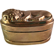 Very Heavy Brass Trinket Box with Sleeping Lion on Top