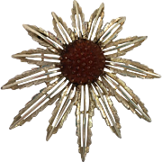 REDUCED Sarah Coventry Gold Tone Flower Brooch