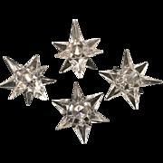 4 Vintage Rosenthal Crystal Star Candle Holders 2 1/2 inch