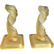 REDUCED Westmoreland Yellow/Gold Lotus Spiral Frosted Glass Candlesticks 1960