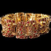 Stunning Vintage Paste Bracelet Goldtone, Red and Purple Rhinestones