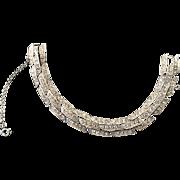 Sparkly Silver Tone and Rhinestone Bracelet Signed ORA