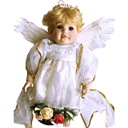 Porcelain and Cloth Angel Doll with Feather Wings 16 1/2""