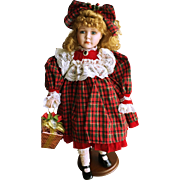 """Magnificent 24"""" Porcelain and Cloth Christmas Doll"""