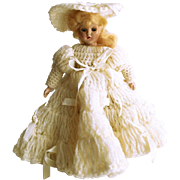 Hard Plastic Doll with Crocheted Dress 7""