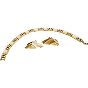 Stunning Mother of Pearl, Rhinestone, and Gold Tone Metal Bracelet and Earrings