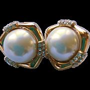 Marvelous Ciner Faux Pearl and Rhinestone Earrings
