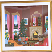 "SALE Thomas McKnight ""Christmas in Connecticut"" Serigraph on Paper Hand Signed"