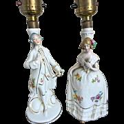 REDUCED Vintage Porcelain Figurine Lamps marked Germany