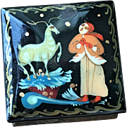 SALE Vintage Small Hand Painted Lacquer Russian Box