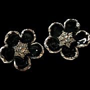 REDUCED Erwin Pearl Black Enamel and Rhinestone Clip Earrings