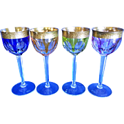 SALE Four Various Colors Moser (signed) Wine Goblets #13887 24K Gold Encrusted (retired)