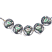 REDUCED Vintage Selro Green Masks Bracelet with Faux Pearls and Rhinestones