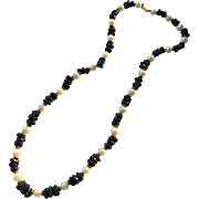 SALE Dauplaise Faux Pearl and Faux Lapis Strand Necklace