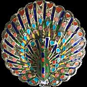 REDUCED Vintage Plique a Jour Enamel Peacock Brooch