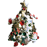 SALE Christmas Tree Brooch with Dangling Ornaments