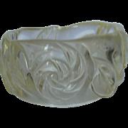 SALE Rockabilly Clear Carved Lucite Bangle Bracelet