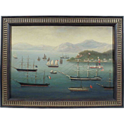 """""""Ships in Hong Kong Harbor"""", China Trade Style Maritime Painting, Oil on Wood Panel"""