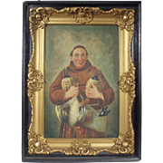 """Celebratory Monk"", Portrait Painting by Frich, Oil on Canvas"