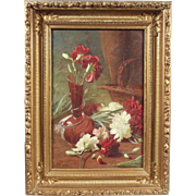 """""""Still Life With Carnations"""", 19th Century Painting by J.B., Oil on Canvas"""