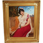 """Spanish Lady"", 19th Century Portrait by Olivier Rhys, Oil on Artists' Board"