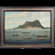 """""""Hong Kong Harbor"""", China Trade Maritime Painting, Oil on Wood Panel"""