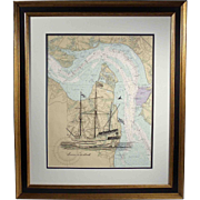 """The Susan Constant"", Maritime Sketch on Nautical Chart by Jim Cambell"