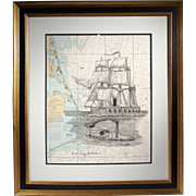 """The Union Navy Blockade"", Maritime Sketch on Nautical Chart by Jim Campbell"