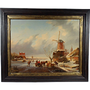 """Dutch Scene"", Jan Jacob Coenraad Spohler, 19th Century Landscape Painting, Oil on W"