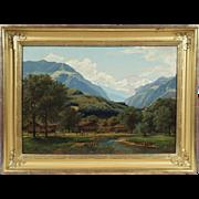 """Swiss Alpine Landscape"", 19th Century Painting by F. Pauli, Oil on Canvas"